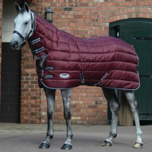 WeatherBeeta ComFiTec 210D Channel Quilt 400g Heavy Weight Combo Stable Rug Maroon/Grey/White