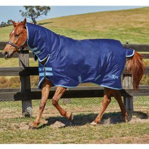 Saxon 600D 200g Medium Weight Combo Neck Turnout Rug Navy/Light Blue