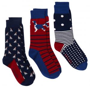Joules Mens Striking 3 Pack Socks Dogs