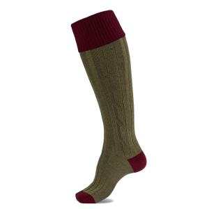 Alan Paine Mens Country Socks Bordeaux and Olive