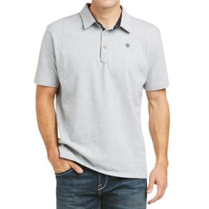 Ariat® Mens Medal Short Sleeved Polo Heather Grey