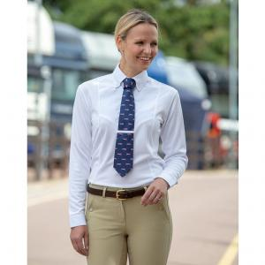Shires Aubrion Ladies Long Sleeve Tie Shirt White