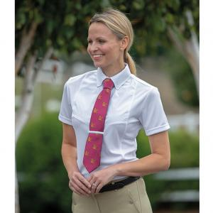Shires Aubrion Ladies Short Sleeve Tie Shirt White