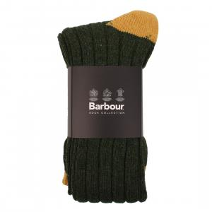 Barbour Contrast Mens Gun Stockings Olive/Gold