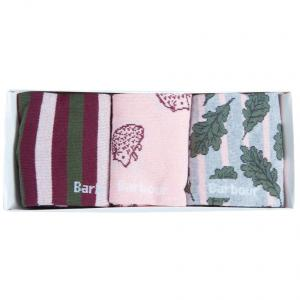 Barbour Ladies Leaf Sock Gift Box Olive/Pink