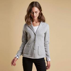 Barbour Ladies Leathen Knit Jacket Light Grey Marl