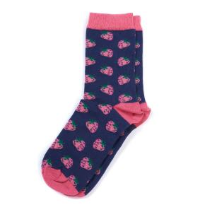 Barbour Ladies Strawberry Socks Blue Pink