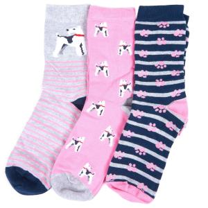 Barbour Ladies Terrier Paw Sock Giftbox Pink/Grey/Navy