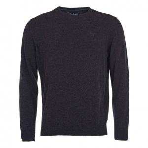 Barbour Mens Essential Lambswool Crew Neck Sweater Charcoal