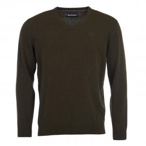 Barbour Mens Essential Lambswool V Neck Jumper Seaweed