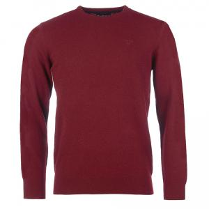 Barbour Mens Essentials Lambswool Crew Neck Sweater New Ruby