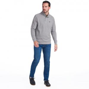 Barbour Mens Half Snap Sweatshirt Grey Marl