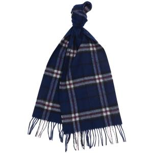 Barbour Mens New Check Tartan Scarf Navy Thompson