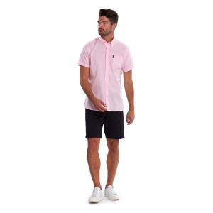 Barbour Mens Oxford 9 Short Sleeve Tailored Fit Shirt Pink