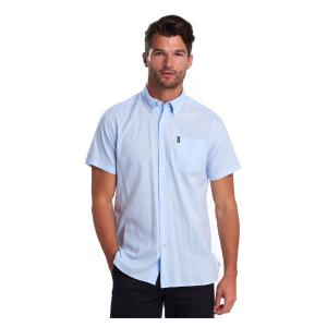 Barbour Mens Oxford 9 Short Sleeve Tailored Fit Shirt Sky Blue