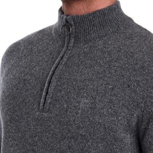 Barbour Mens Tisbury Half Zip Knit Sweater Grey