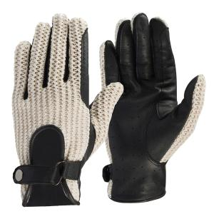 Horze Unisex Crochet Riding Gloves Black/Off-White