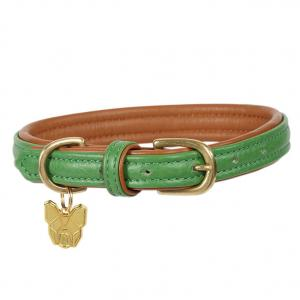 Digby & Fox Padded Leather Dog Collar Green