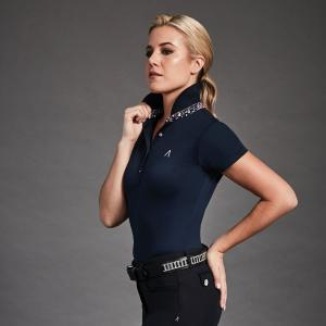 Dublin Black Ladies Karina Short Sleeve Tech Polo Navy