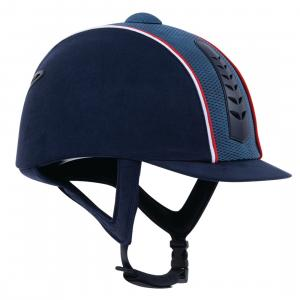 Dublin Adults Silver Pro Piped Riding Hat Navy/Red/White
