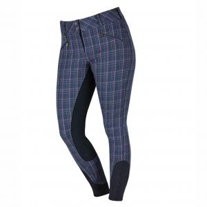 Dublin Ladies Supa Embrace Heritage Full Seat Breeches Navy/Berry Plaid