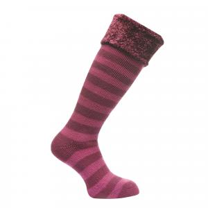 Regatta Ladies Fur Collar Wellington Socks Blackcurrant/Vivid Viola