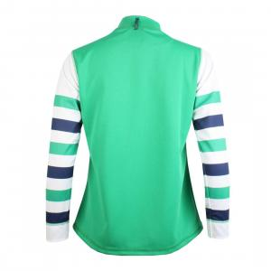Equetech®  Ladies Cross Country Shirt Green Navy White Stripe