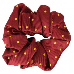 Equetech Childs Polka Dot Show Scrunchie Burgundy/Gold