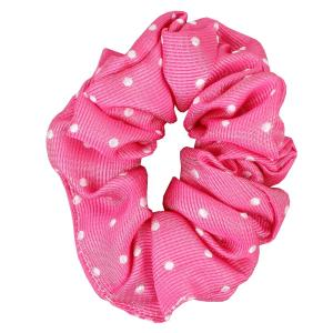 Equetech Polka Dot Scrunchie Fuschia/White