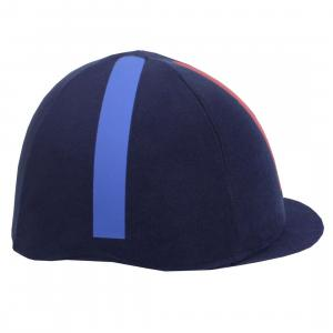 Equetech® Cross Country Hat Cover Navy Red Blue Stripe