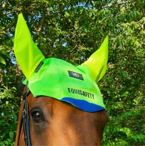Equisafety Charlotte Dujardin Reflective Multi-Coloured Mesh Horse Ears Yellow/Green