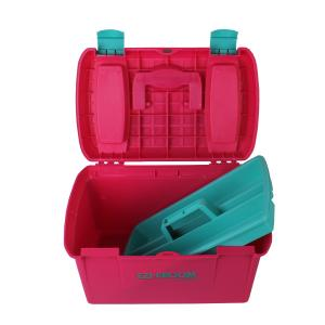 Ezi-Groom Two Tone Tack Box Bright Pink