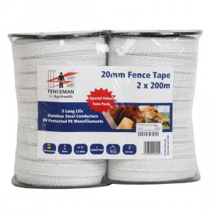 Fenceman Electric Tape Twin Pack White 200m