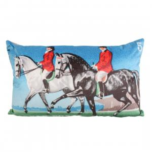 Grays Tweed Back Cushion Eventing Couple