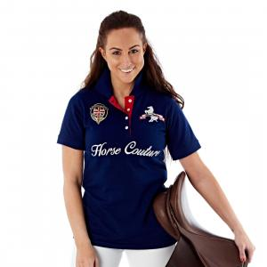 Horse Couture Milan Large Logo Polo Shirt Navy