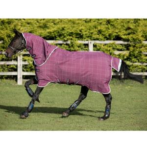 Horseware® Rhino® Plus with Vari-Layer® 450g Heavyweight Detach-A-Neck Turnout Rug Berry/Grey/White Check/Grey