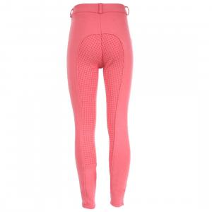 Horze Childs Active Silicone Grip Full Seat Breeches Peony Pink