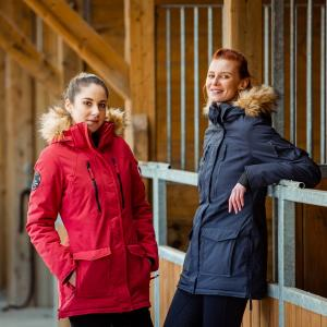 Horze Ladies Brooke Long Parka Jacket Scarlet Sage Red