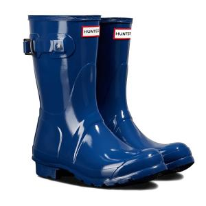 Hunter Ladies Original Short Gloss Wellington Boots Peak Blue