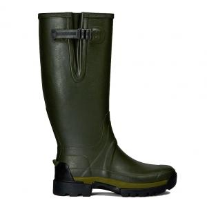 Hunter Mens Balmoral II Side Adjustable Neoprene Wellington Boots Dark Olive