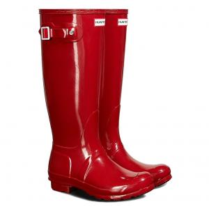 Hunter Ladies Original Tall Gloss Wellington Boots Military Red