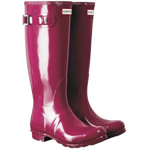 Hunter Womens Original Tall Gloss Wellington Boots Red Algae