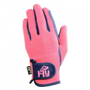 HY5 Childs Everyday Two Tone Riding Gloves Navy/Raspberry