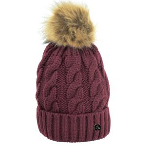 Hy HyFASHION Melrose Cable Knit Bobble Hat Burgundy