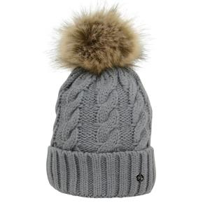 Hy HyFASHION Melrose Cable Knit Bobble Hat Grey