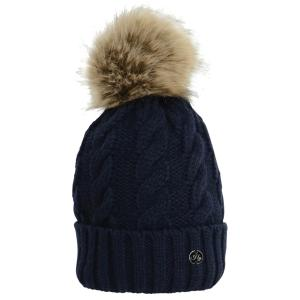 Hy HyFASHION Melrose Cable Knit Bobble Hat Navy