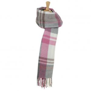 Hy HyFASHION Ladies Supersoft Tartan Scarf Berry/Grey/White