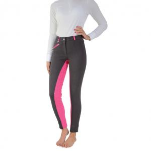 Hy HyPERFORMANCE Ladies Saxby Silicone Full Seat Jodhpurs Anthracite Grey/Cerise Pink