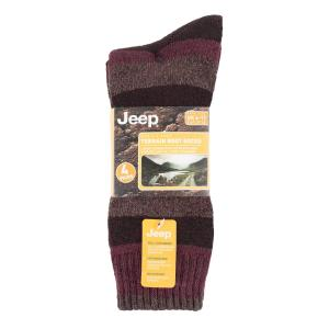 Jeep Mens Performance Boot Socks 2 Pack Brown/Earth