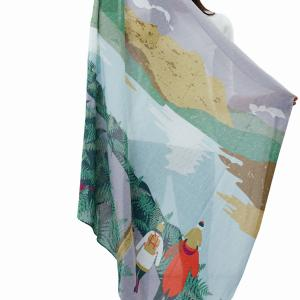 Joules Atmore Printed Scarf Silver Rain